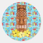 Máscara hawaiana de Tiki Etiquetas Redondas