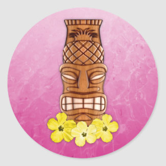 Máscara hawaiana de Tiki Pegatina Redonda