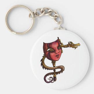 Máscara I del dragón del oro Llavero Redondo Tipo Pin