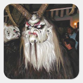 Máscara japonesa de cuernos del diablo pegatina cuadrada