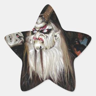 Máscara japonesa de cuernos del diablo pegatina en forma de estrella