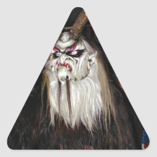 Máscara japonesa de cuernos del diablo pegatina triangular