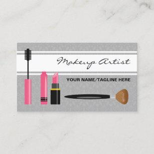 Mascara Lipstick And Brush Makeup Artist Business Card