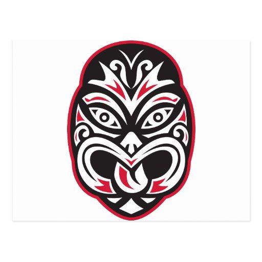 máscara maorí del tatuaje del moko del tiki postal