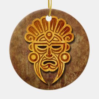 Máscara maya de piedra ornamentos de reyes