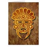 Máscara maya de piedra felicitaciones
