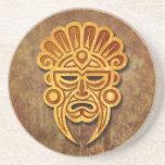 Máscara maya de piedra posavasos diseño