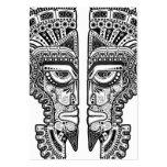 Máscara maya negra de los gemelos en blanco tarjetas de visita