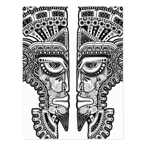 Máscara maya negra de los gemelos en blanco postales