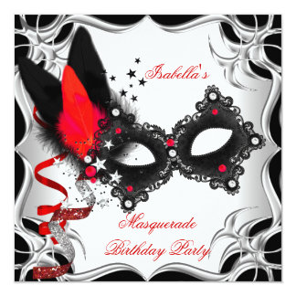 Máscara negra de plata roja del fiesta de la