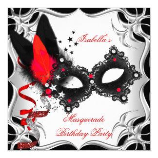 """Máscara negra de plata roja del fiesta de la invitación 5.25"""" x 5.25"""""""