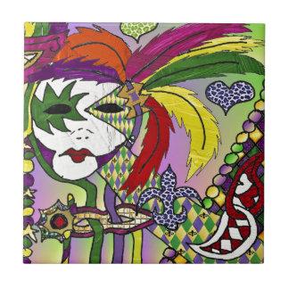 Máscara psicodélica de la pluma del carnaval azulejo cuadrado pequeño