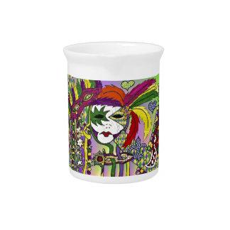 Máscara psicodélica de la pluma del carnaval jarras de beber