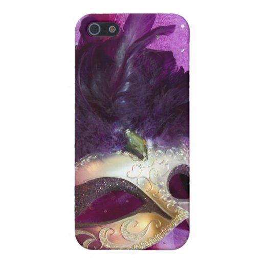 Máscara púrpura de la mascarada iPhone 5 protectores