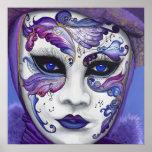 Máscara púrpura del carnaval impresiones