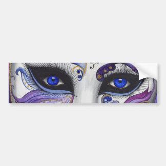 Máscara púrpura del carnaval por PSOVART Pegatina De Parachoque
