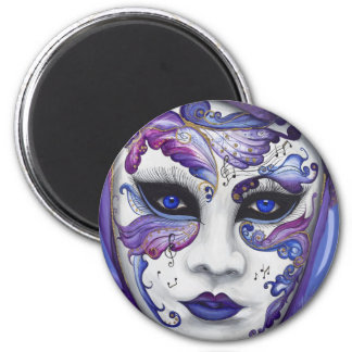 Máscara púrpura del carnaval por PSOVART Imán Redondo 5 Cm