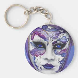Máscara púrpura del carnaval por PSOVART Llavero Redondo Tipo Pin