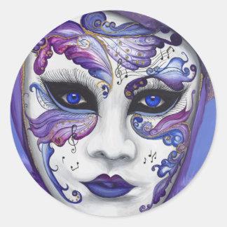 Máscara púrpura del carnaval por PSOVART Etiqueta Redonda
