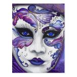 Máscara púrpura del carnaval por PSOVART Tarjeta Postal