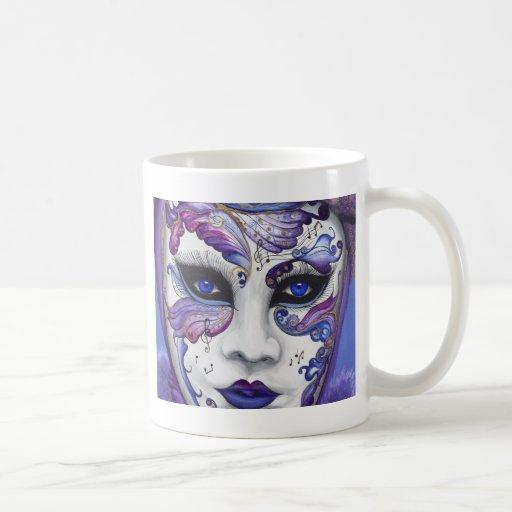 Máscara púrpura del carnaval por PSOVART Taza De Café
