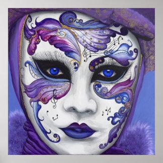 Máscara púrpura del carnaval póster