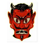 Máscara retra del diablo del kitsch del vintage de tarjeta postal