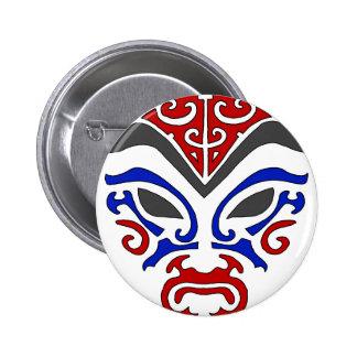Máscara roja de Kabuki del estilo tribal Pin Redondo De 2 Pulgadas