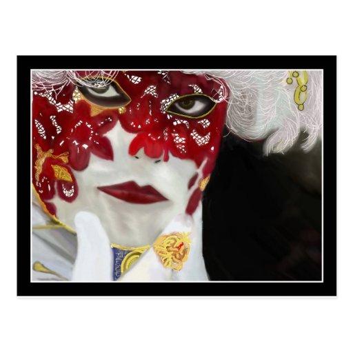 Máscara roja del cordón del carnaval postal