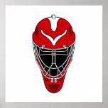 Máscara roja del hockey poster