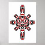 Máscara roja y negra de Sun del Haida en blanco Impresiones