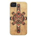 Máscara roja y negra del vintage del Haida de Sun iPhone 4 Funda