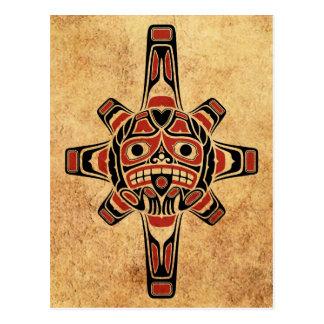 Máscara roja y negra del vintage del Haida de Sun Postal