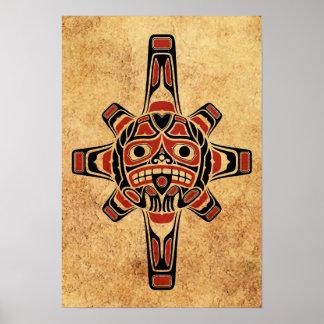 Máscara roja y negra del vintage del Haida de Sun Póster