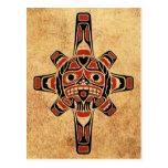 Máscara roja y negra del vintage del Haida de Sun Tarjeta Postal