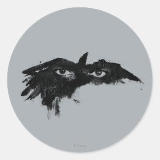 Máscara solitaria 2 del guardabosques pegatina redonda