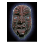 Máscara tallada maorí - postal