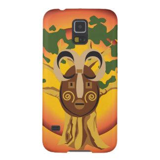 Máscara tribal primitiva en el árbol Sun que Carcasa Galaxy S5