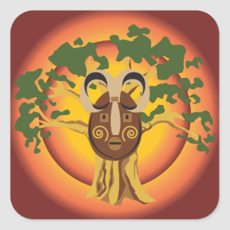 Máscara tribal primitiva en el árbol Sun que Pegatina Cuadrada