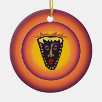 Máscara tribal Sun que brilla intensamente de la c Ornamento Para Reyes Magos