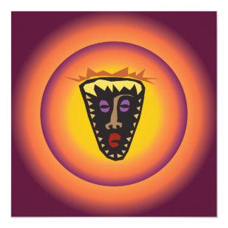 """Máscara tribal Sun que brilla intensamente de la Invitación 5.25"""" X 5.25"""""""