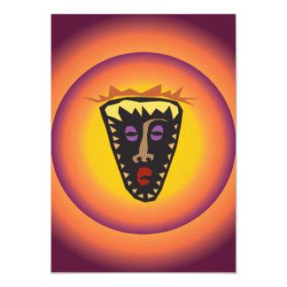 """Máscara tribal Sun que brilla intensamente de la Invitación 5"""" X 7"""""""