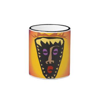 Máscara tribal Sun que brilla intensamente de la Taza De Dos Colores