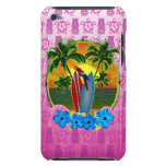 Máscara tropical de Tiki del rosa de la puesta del Barely There iPod Fundas