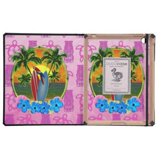 Máscara tropical de Tiki del rosa de la puesta del iPad Protectores