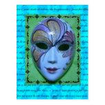 Máscara veneciana 2 tarjetas postales