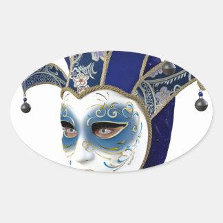 Máscara veneciana azul de Carnivale en perfil Pegatina Ovalada
