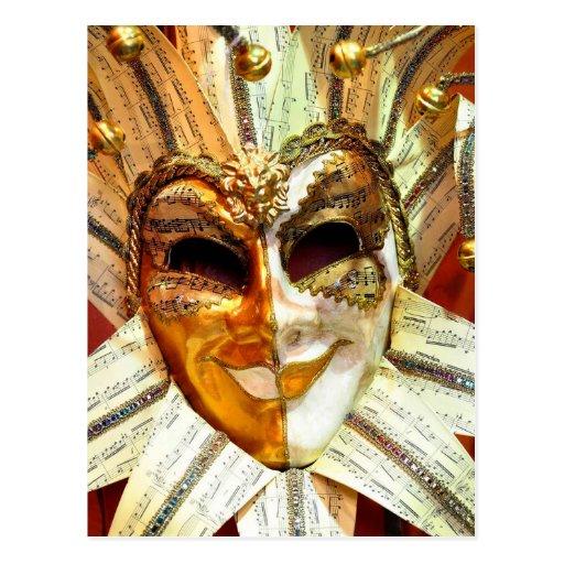 Máscara veneciana del bufón del carnaval con Belce Tarjeta Postal