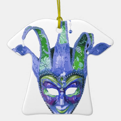 Máscara veneciana del carnaval del bufón adorno navideño de cerámica en forma de playera
