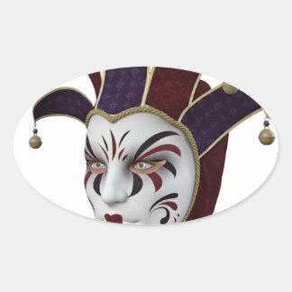 Máscara veneciana marrón y púrpura de Carnivale Pegatina Ovalada
